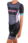Women's Aurora Celeste Sleeved Aero Performance Triathlon Suit