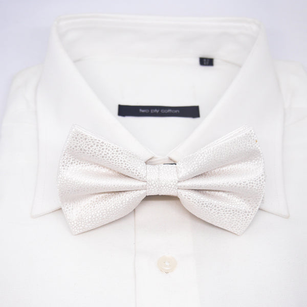 Textured Damon Bow Tie in Cream Reptile - Giorgio Mandelli® Official Site | GIORGIO MANDELLI Made in Italy