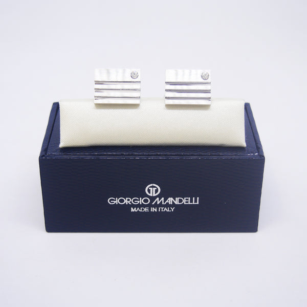 Cain Cufflinks with Clear Crystal - Giorgio Mandelli® Official Site | GIORGIO MANDELLI Made in Italy