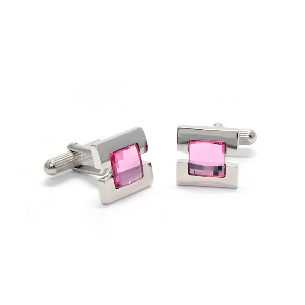 Jesse Cufflinks with Pink Crystal - Giorgio Mandelli® Official Site | GIORGIO MANDELLI Made in Italy