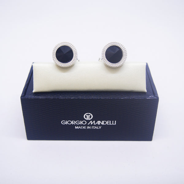 William Cufflinks with Black Crystal - Giorgio Mandelli® Official Site | GIORGIO MANDELLI Made in Italy