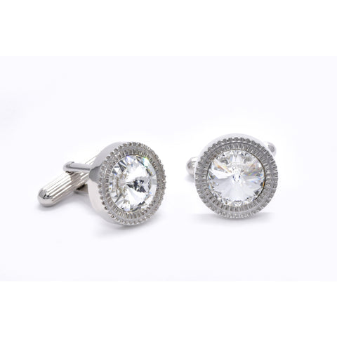 William Cufflinks with Clear Crystal - Giorgio Mandelli® Official Site | GIORGIO MANDELLI Made in Italy