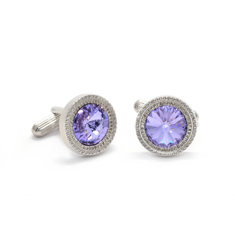 William Cufflinks with Purple Crystal - Giorgio Mandelli® Official Site | GIORGIO MANDELLI Made in Italy