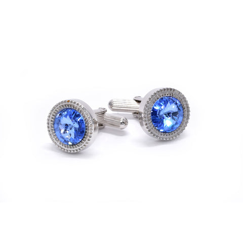 William Cufflinks with Blue Crystal - Giorgio Mandelli® Official Site | GIORGIO MANDELLI Made in Italy