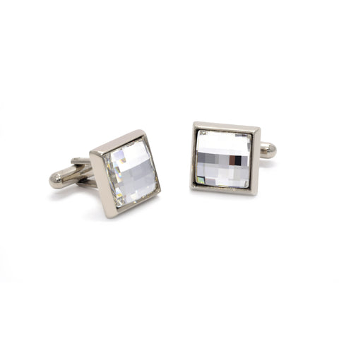 Daniel Cufflinks with Clear Crystal - Giorgio Mandelli® Official Site | GIORGIO MANDELLI Made in Italy