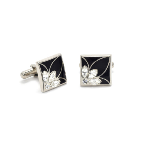 Silas Cufflinks with Clear Crystal & Black Enamel - Giorgio Mandelli® Official Site | GIORGIO MANDELLI Made in Italy