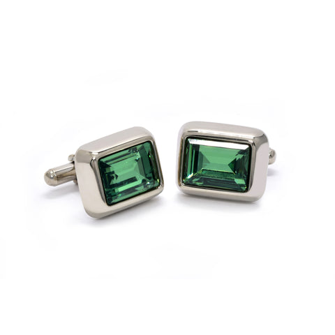 Charles Cufflinks with Green Crystal - Giorgio Mandelli® Official Site | GIORGIO MANDELLI Made in Italy