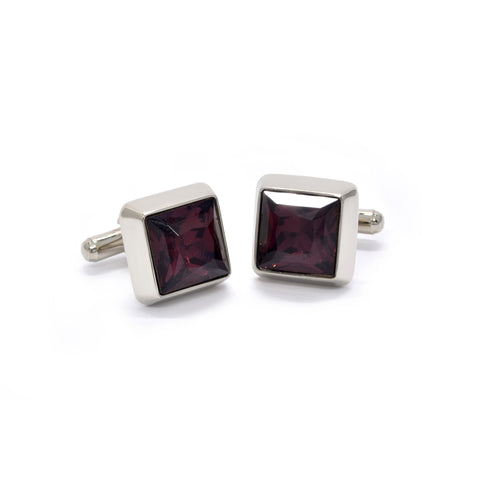 Dominic Cufflinks with Ruby Crystal - Giorgio Mandelli® Official Site | GIORGIO MANDELLI Made in Italy