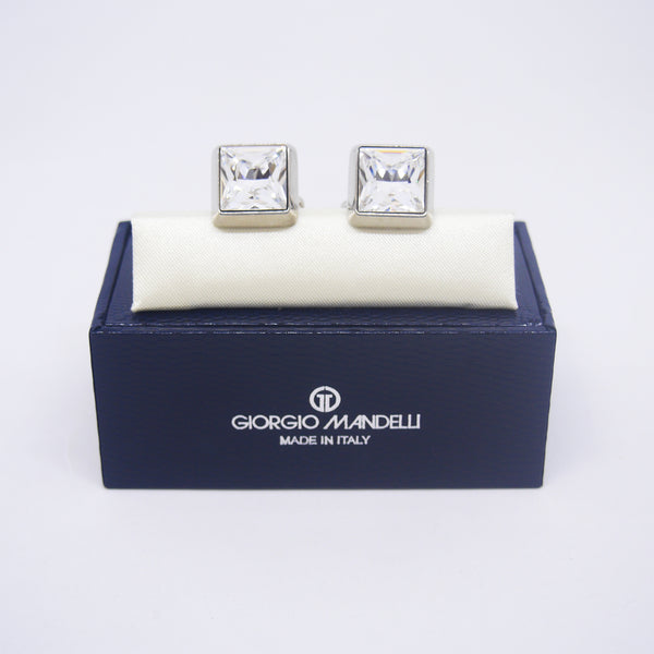 Dominic Cufflinks with Clear Crystal - Giorgio Mandelli® Official Site | GIORGIO MANDELLI Made in Italy