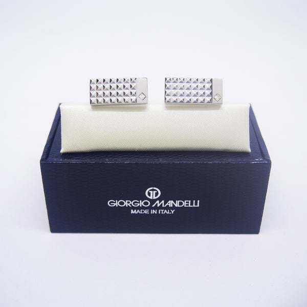 Thaddeus Cufflinks with Clear Crystal - Giorgio Mandelli® Official Site | GIORGIO MANDELLI Made in Italy