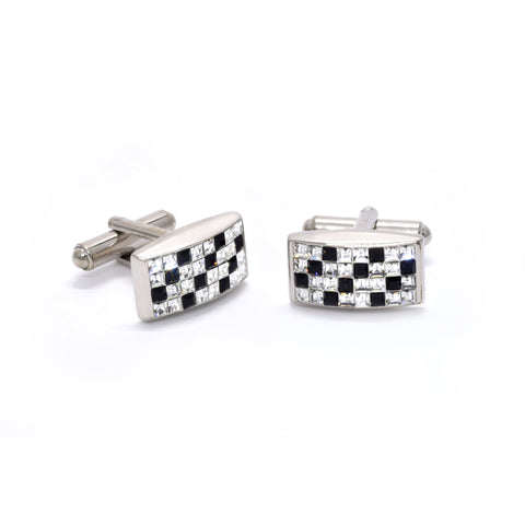 Velden Cufflinks in Chequered Black & White - Giorgio Mandelli® Official Site | GIORGIO MANDELLI Made in Italy