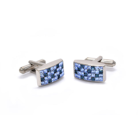 Velden Cufflinks in Chequered Light & Dark Blue - Giorgio Mandelli® Official Site | GIORGIO MANDELLI Made in Italy