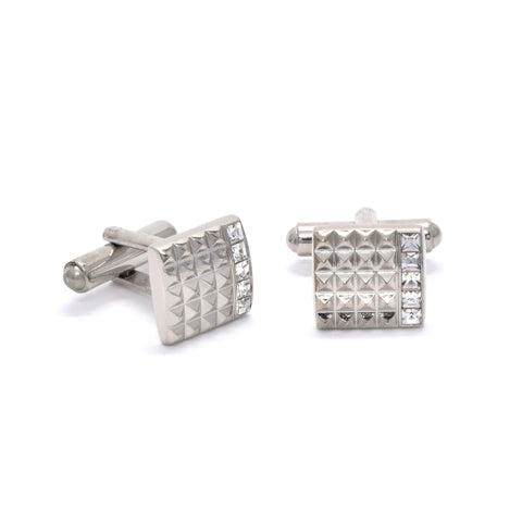 Matthew Cufflinks with Clear Crystal - Giorgio Mandelli® Official Site | GIORGIO MANDELLI Made in Italy