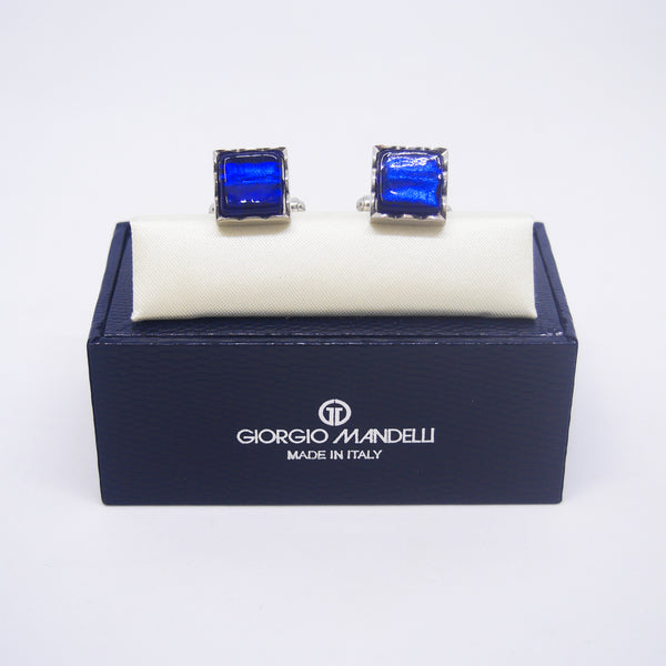 Jacob Cufflinks with Blue Murano Glass - Giorgio Mandelli® Official Site | GIORGIO MANDELLI Made in Italy