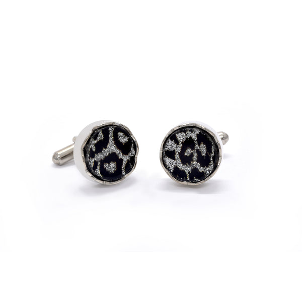 Sebastian Cufflinks in Silver & Black Rosettes - Giorgio Mandelli® Official Site | GIORGIO MANDELLI Made in Italy