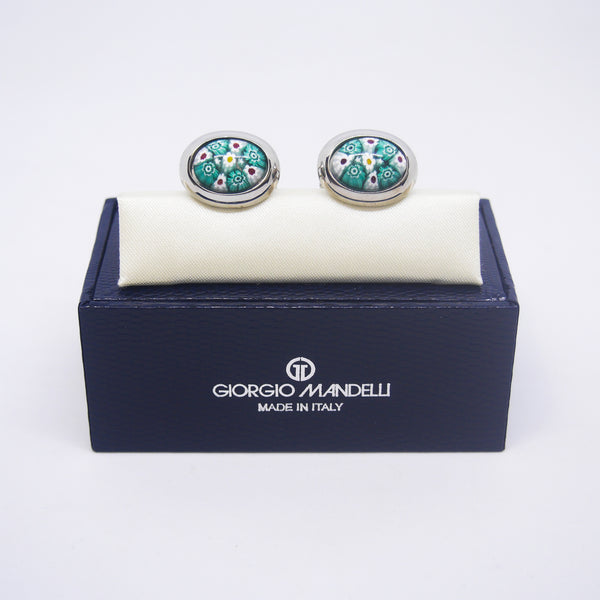 Ventura Cufflinks in Teal & White Millefiori - Giorgio Mandelli® Official Site | GIORGIO MANDELLI Made in Italy