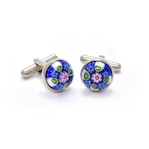 Viviano Cufflinks in Green & Blue Millefiori - Giorgio Mandelli® Official Site | GIORGIO MANDELLI Made in Italy