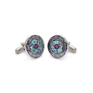 Valente Cufflinks in Heart Millefiori - Giorgio Mandelli® Official Site | GIORGIO MANDELLI Made in Italy