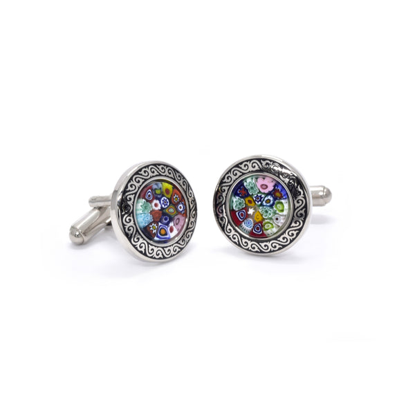 Valente Cufflinks in Multicolour Millefiori - Giorgio Mandelli® Official Site | GIORGIO MANDELLI Made in Italy