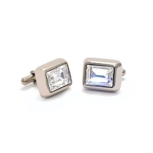 Charles Cufflinks with Clear Crystal - Giorgio Mandelli® Official Site | GIORGIO MANDELLI Made in Italy
