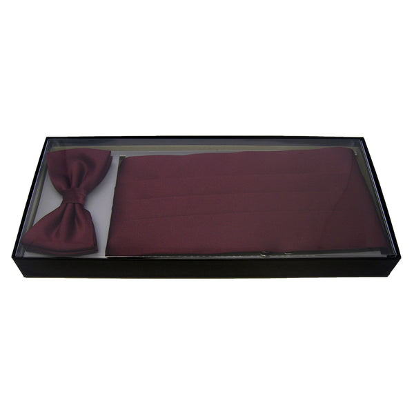 Cummerbund and Bow Tie Set in Burgundy Red