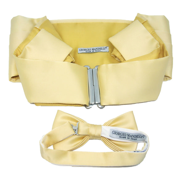 Cummerbund and Bow Tie Set in Champagne Yellow