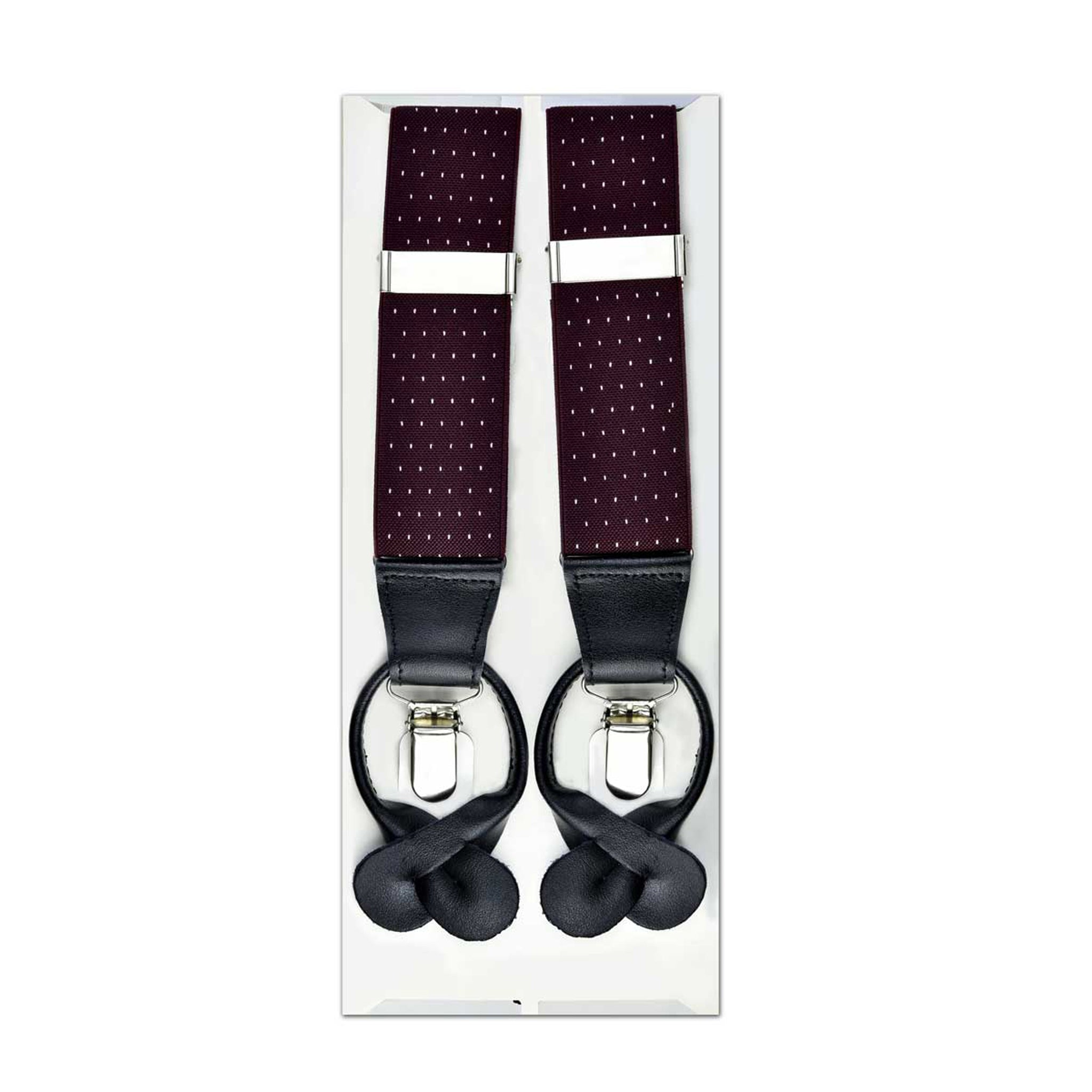 MISSOURI Levi Suspenders in Maroon & White - Giorgio Mandelli® Official Site | GIORGIO MANDELLI Made in Italy