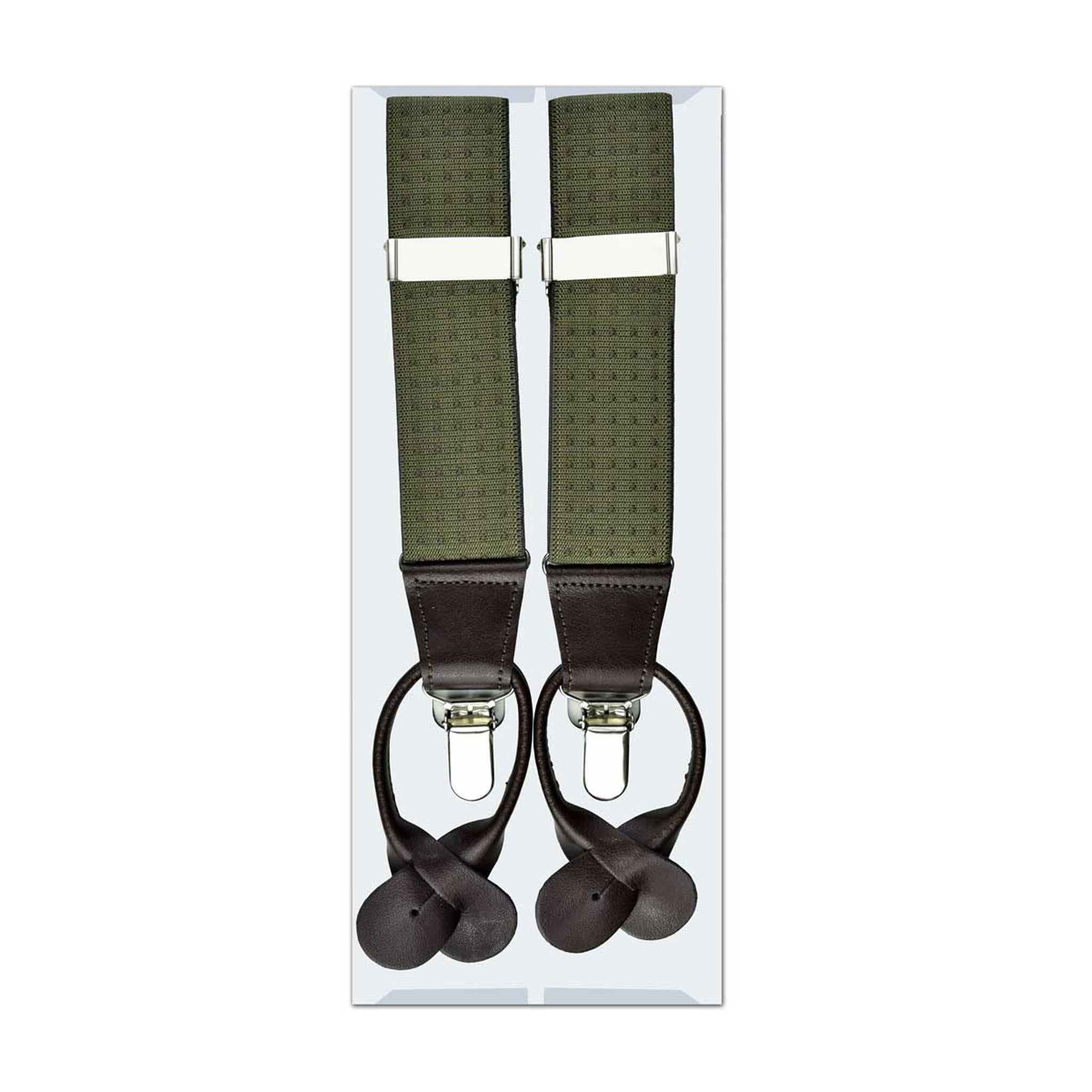 MISSOURI Holden Suspenders in Olive - Giorgio Mandelli® Official Site | GIORGIO MANDELLI Made in Italy