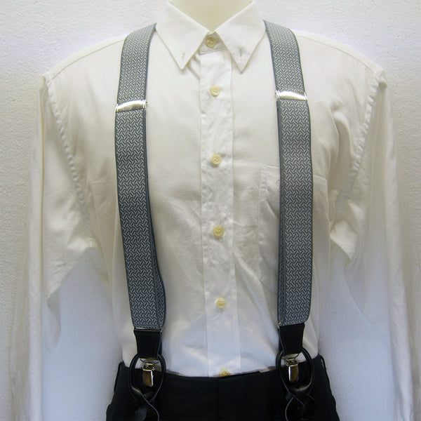 MISSOURI Damon Suspenders in Grey & White - Giorgio Mandelli® Official Site | GIORGIO MANDELLI Made in Italy