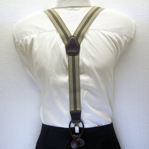MISSOURI Harley Suspenders in Cream & Olive - Giorgio Mandelli® Official Site | GIORGIO MANDELLI Made in Italy