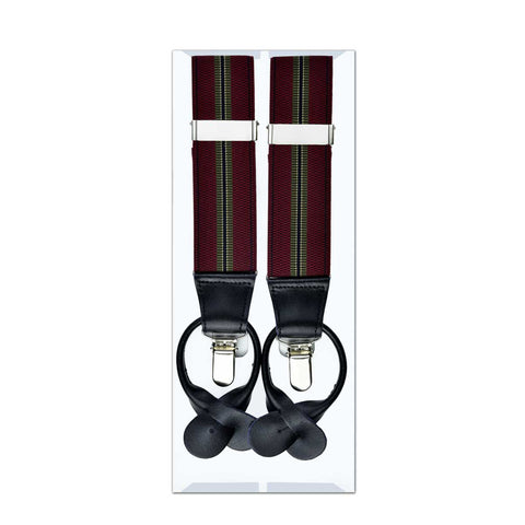 MISSOURI Harley Suspenders in Burgundy Red & Olive - Giorgio Mandelli® Official Site | GIORGIO MANDELLI Made in Italy
