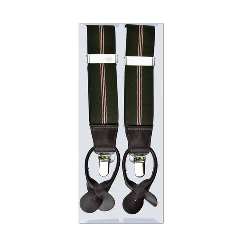 MISSOURI Reese Suspenders in Olive & White - Giorgio Mandelli® Official Site | GIORGIO MANDELLI Made in Italy
