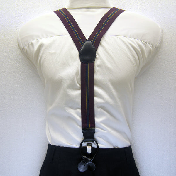 MISSOURI Emerson Suspenders in Burgundy Red &  Blue - Giorgio Mandelli® Official Site | GIORGIO MANDELLI Made in Italy
