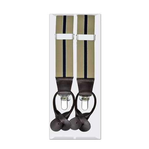 MISSOURI Emerson Suspenders in Khaki & Black - Giorgio Mandelli® Official Site | GIORGIO MANDELLI Made in Italy