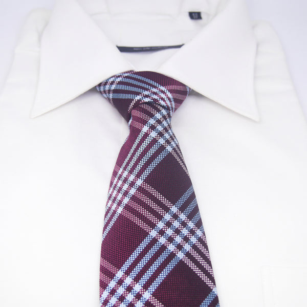Checkered Rory Tie in Burgundy Plaid - Giorgio Mandelli