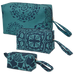 Mandala Teal Indigo Cosmetic Case, Large