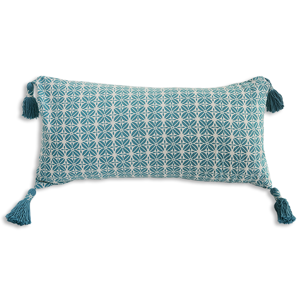 Teal Coffee Bean cushion cover, long tasseled