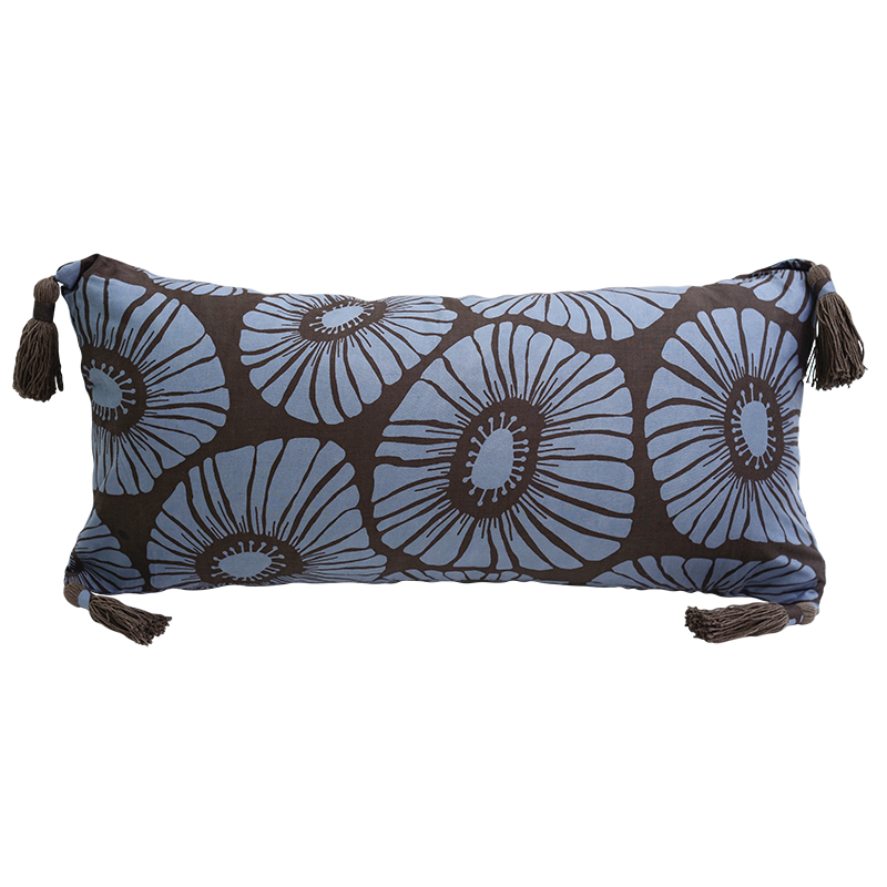 Mocha Blue Retro Flowers, long tasseled - SALE HOMEWARES
