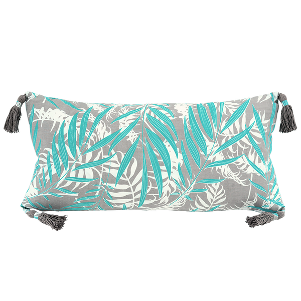 Turquoise Grey Palm Cushion Cover, long tasseled