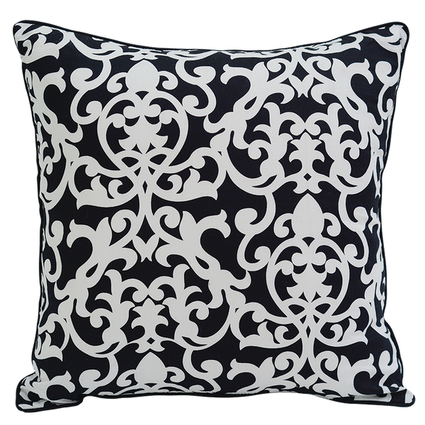 Florence Black & White Cushion Cover, Medium