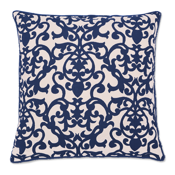 Florence Indigo Cushion Cover, Medium