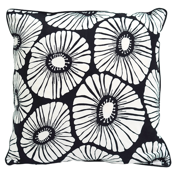 Retro Flowers Black & White Cushion Cover, Medium
