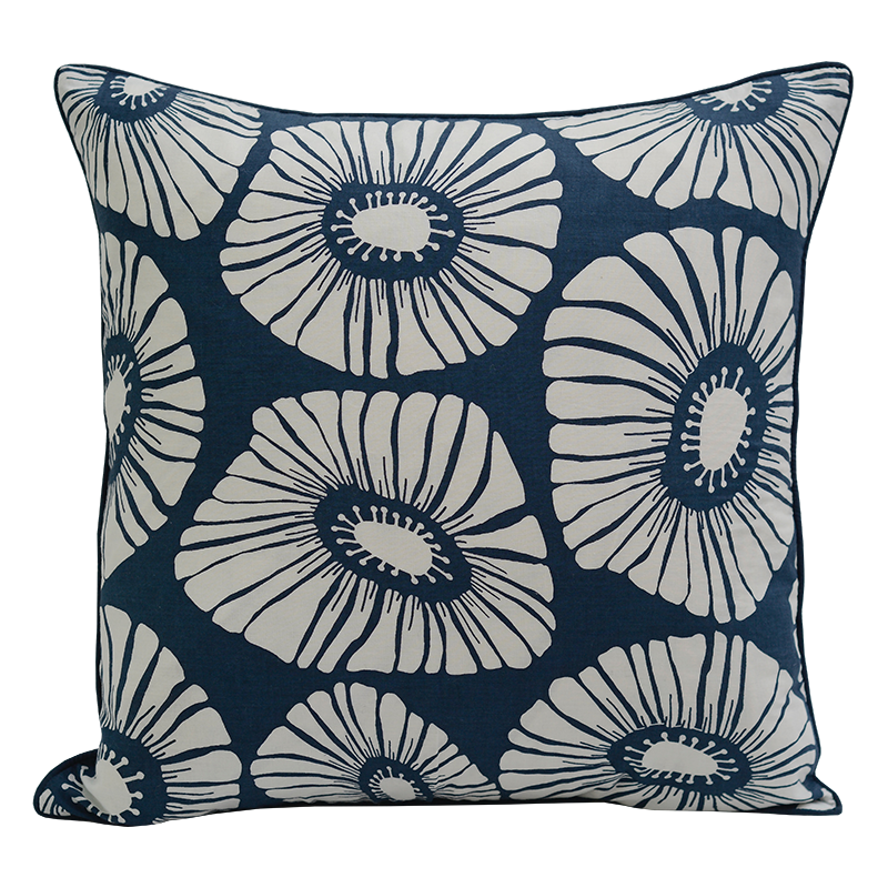 Retro Flowers Indigo Cushion Cover, Medium