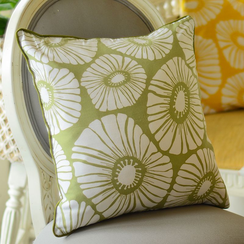 Retro Flowers Sage Cushion Cover, Medium