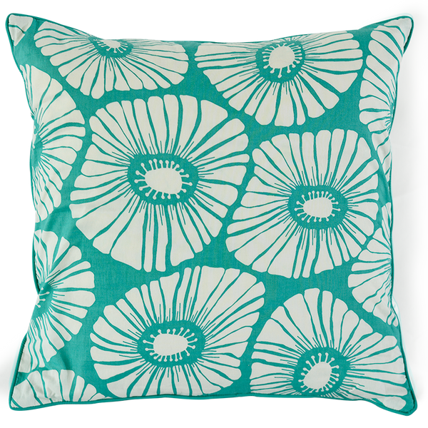 Retro Flowers Turquoise Cushion Cover, Medium