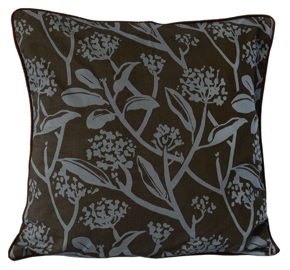 Frangipani Mocha Blue Cushion Cover, Medium