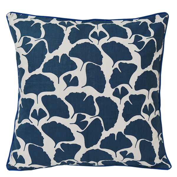 Ginkgo Indigo Cushion Cover, Medium