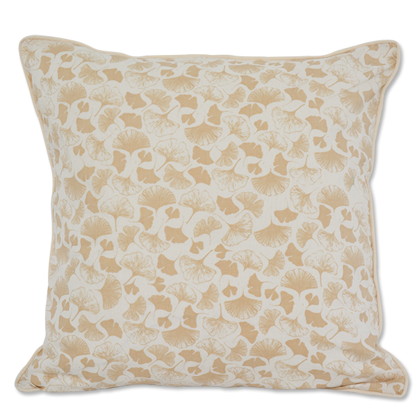 Beige Lacy Ginkgo Cushion Cover, Medium - SALE HOMEWARES