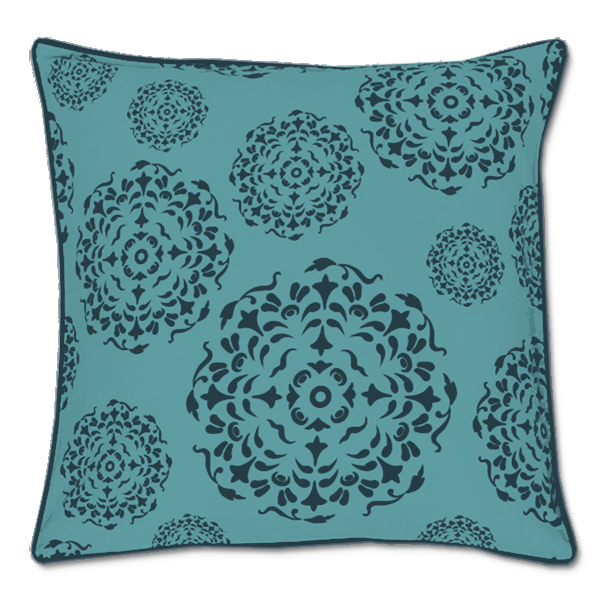 Mandala Indigo Teal Cushion Cover, Medium