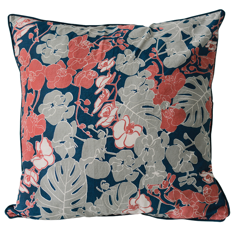 Orchid Coral Navy Cushion Cover, Medium